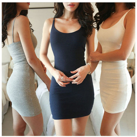 Fashion Women Sexy Backless Basic Dresses Sleeveless Slim Vestidos Vest Tanks Bodycon Dress Strap