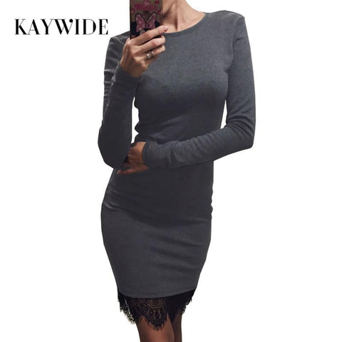 Lace Patchwork Women Dress O Neck Casual Bodycon Party dresses With Tassel  Plus Size Sleeve Dress