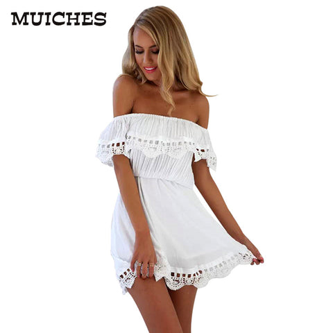 Elegant Vintage sweet lace white Dress stylish sexy slash neck casual slim beach Summer Sundress