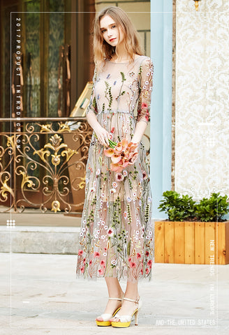 Net yarn three-dimensional embroidery chiffon flower lace fabric mesh material 130cm diy dress