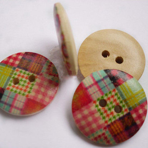 1Bag Colorful Wooden Check Buttons DIY Clothes Accessories Sewing Tools BWB1AQY