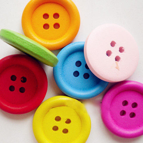 1 Bag Mixed Color Painted Basic Sewing Button Round  Wooden Buttons 4Hole Crafts
