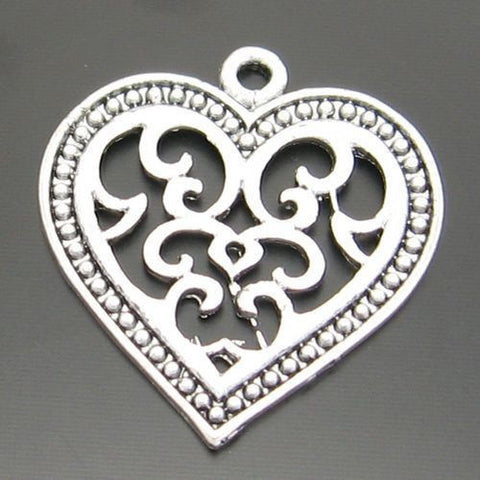 03675 Antiqued Silver Alloy Cute Hollow Heart Pendant Charms 23*21mm 35PCS