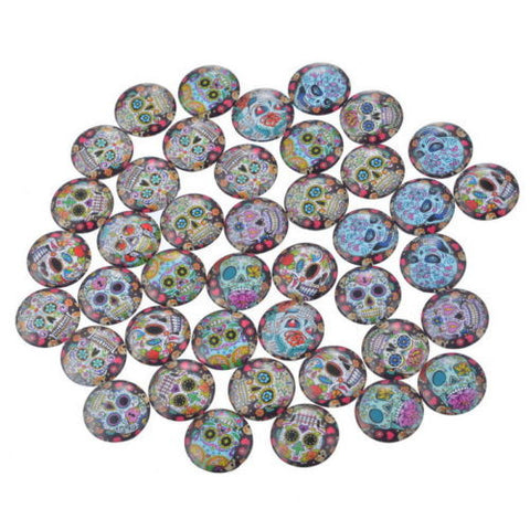 100PCs Mix Round Skull Glass Flatback Scraphook Cabochons for Phone DIY Craft