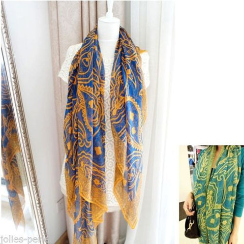 JP 1PC New Fashion Women Lady Green Ethnic National Boho Voile Yarn Long Scarves