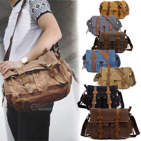 "Men Canvas Leather Satchel School Military Shoulder 14"" Laptop Messenger Bag New"