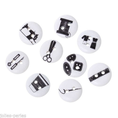 100PCs Mixed Wood Buttons 2 Holes Sewing Tools Pattern Printed 15mm