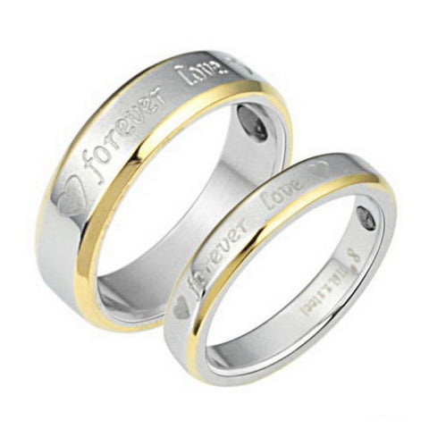 Stainless Steel Ring Couple Rings Carved Wedding Engagement Forever Love Gift
