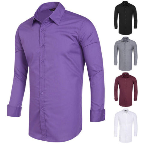 Mens Plain Casual Slim Fit Long Sleeve Formal Business Dress Shirts Stylish Top