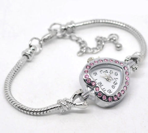 1 Pink Rhinestone Watch Bracelet Fit European Beads 20cm