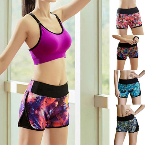 BD Summer Floral Print Pants Women Sports Shorts Gym Workout Skinny Yoga Short