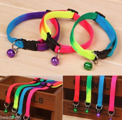 BD Rainbow Dog Cat Bell Collar Adjustable Pet Collars Dogs Puppies Teddy Pets