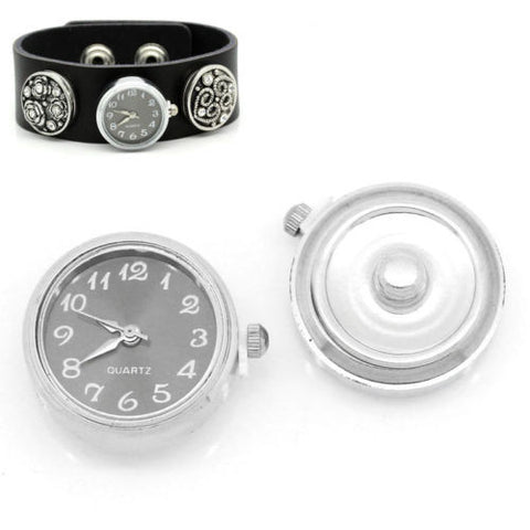 "1 PC Watch Face Snap Click Buttons Snap Silver Tone 25mmx21mm(1""x7/8"")"