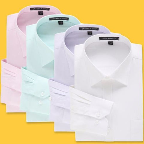 New Men's Stylish Luxury Dress Shirts Business Casual Slim Fit Shirts 6 Colors