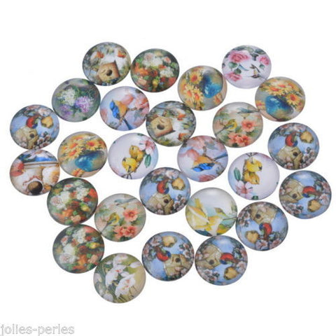 100PCs Mix Round Flower Glass Flat Back Scraphook Cabochons for Phone DIY Craft