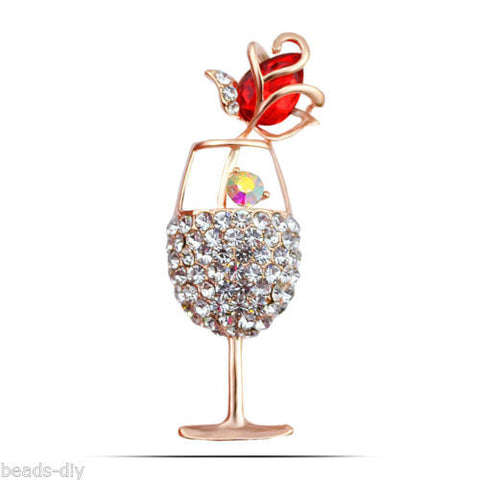 BD New Rhinestone Crystal Rose Brooch Goblet Brooch Gold&Red Scarves Buckle