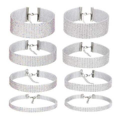 "0.4''-1.5"" thick wide Sparkly silver Crystal Rhinestone choker Collar necklace"