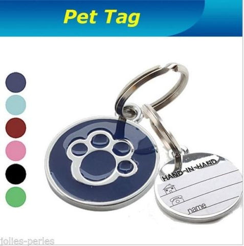 JP Metal Paw Pet Tag With Personalised Back-Engraving for Dog Cat Pets New