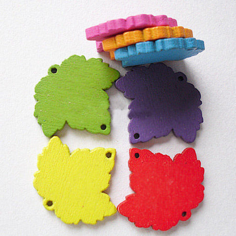 1 Bag Lovely Maple Leaf Shape Wooden Buttons Craft Clothing Sewing Fit NNA0Z21