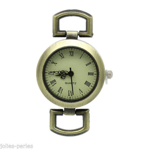 "10 PCs Watches Face Round Bronze Tone 4.8cmx2.9cm(1 7/8""x1 1/8"")"
