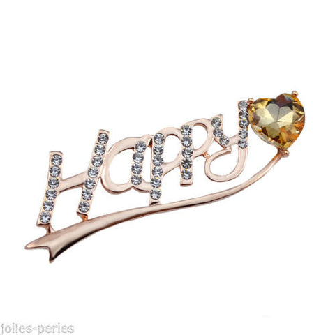 JP Fashion Accessories Rhinestone Alloy Letter Heart Brooch Scarves Buckle