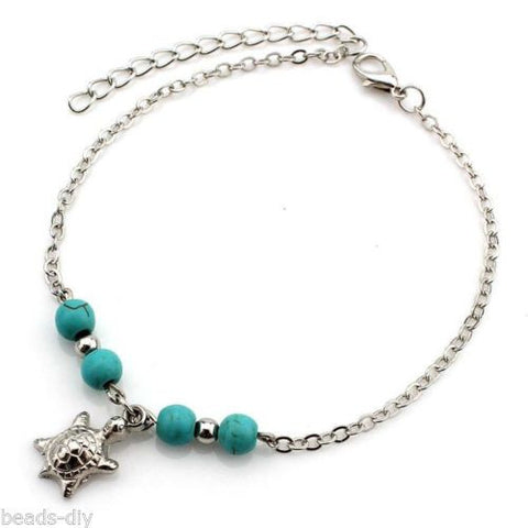 BD Bohemian Hand Palm Green Leaves Turquoise Beaded Anklets Women Girl Bangle