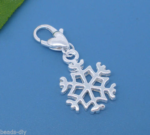 10PCS  New BD Charms Clip On Snowflake Fits Link Chain Bracelet 32x14mm