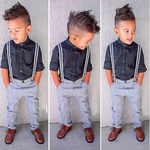 1Set Boys Kids Fashion Blouse T Shirt Suspender W/ Straps Jeans Pants