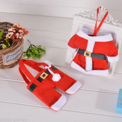 10PCs/Set Christmas Decoration Cloth/Pants Shape Knife Fork Bags Cutlery Sets