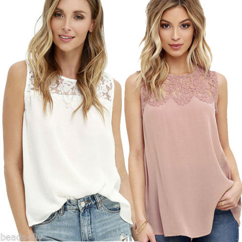 Fashion Women Lady Lace Chiffon Sleeveless Summer T-shirt Casual Blouse Tops