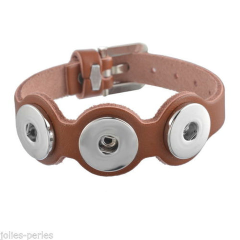 5 Real Leather Watch Bands Bracelet Buckle Fit Snap Buttons Coffee 25cm long