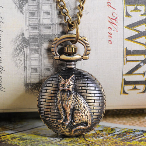 "1 Bronze Tone Necklace Chain Cat Quartz Pocket Watch 84cm (33-1/8"")"