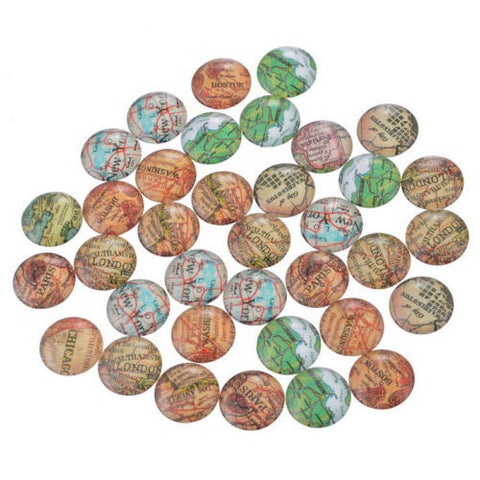 100PCs Mix Round Map Glass Flat Back Scraphook Cabochons for Phone DIY Craft