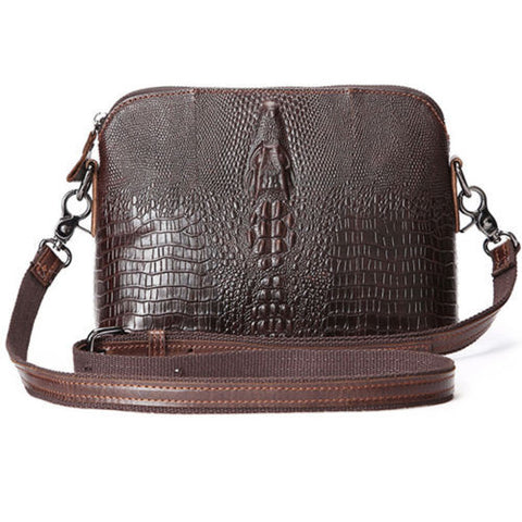 Women Vetro Genuine Cowhide Leather Crocodile Pattern Messenger Shoulder Bags
