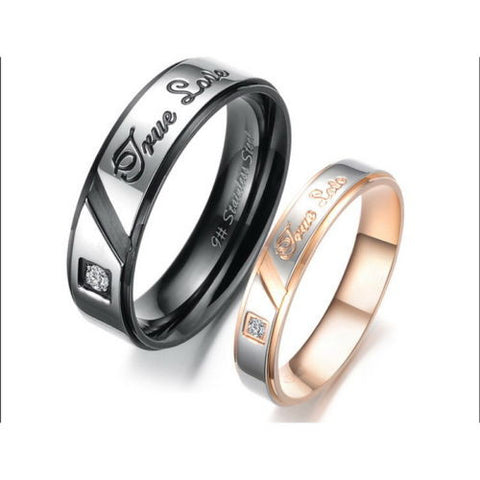 Stainless Steel Ring Couple Rings Carved Crystal Wedding Engagement Gift