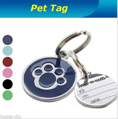 Personalised Metal Engraved Paw Print With Tab-Tag for Dog Cat Pets ID Tags Safe