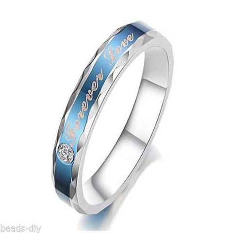 "BD Blue Stainless Steel with Rhinestone ""Forever Love"" Couple Ring"
