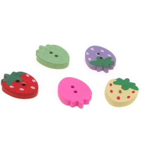 100pcs Hotsale Assorted Strawberry Wood Buttons Fit Sew-on Coat/clothes/pants J