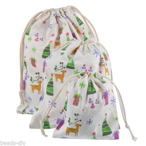 1PC BD New Gift Linen Elk Pattern Christmas Tree Present Storage Packing Bags
