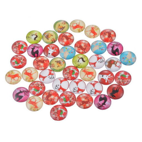 100PCs Mix Round Deer Glass Flatback Cabochons Scraphook For Phone DIY Craft
