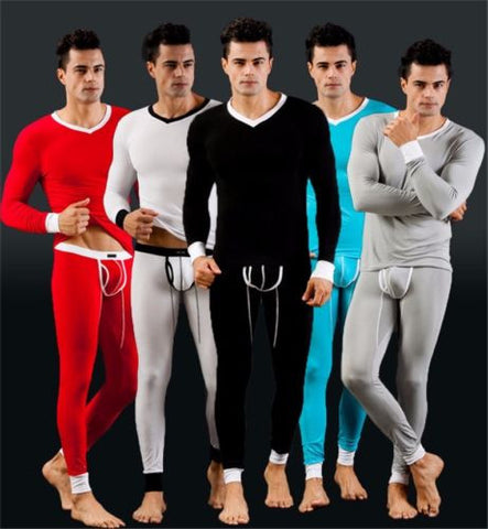 1 Set Mens Warm Thermal Leggings Fitness Tight Long Johns Pants & Tops Stretch