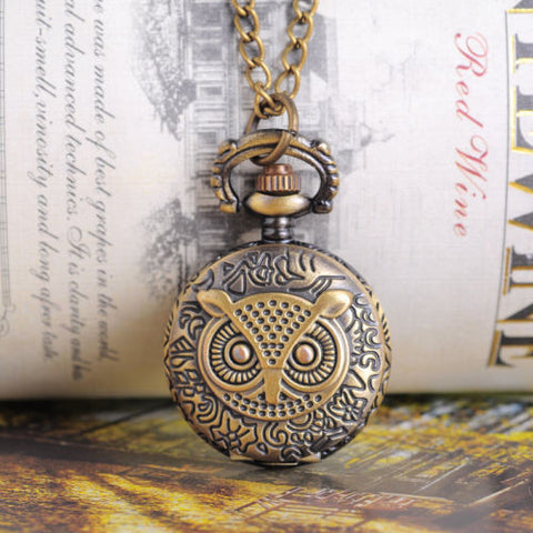 "1 Bronze Tone Necklace Chain Owl Quartz Pocket Watch 85cm(33-1/2"") B12982"