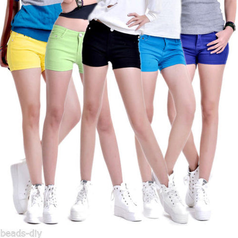 Hot Girl Candy Colors Skinny Casual Stretch Jean Denim Shorts Pants
