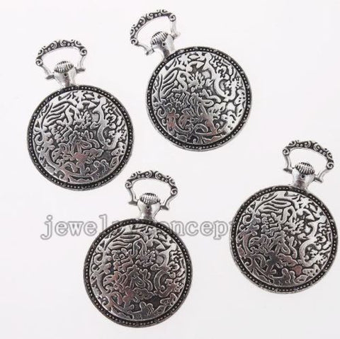 10x Ancient Silvery Alloy Pocket Watch Shape Charms Pendants Fit DIY Jewelry J