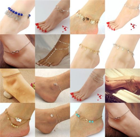 Multi Style Metal Anklets Chain Gold/Silver Plated Fashion Jewelry For Women