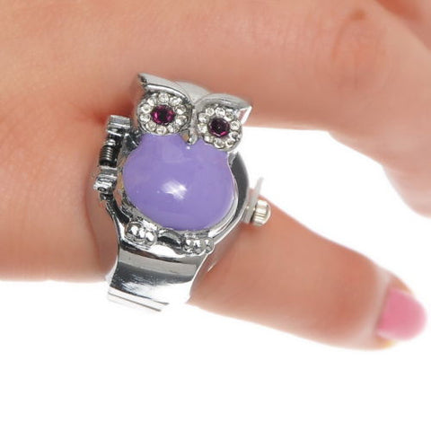 5PC Finger Ring Watch Quartz Owl Purple Enamel Adjustable Band Size7 (17.5mm)