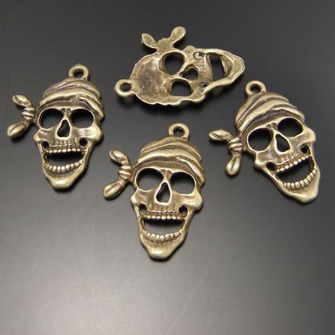 Antiqued Bronze Vintage Pirate Skull Head Jewelry Pendant Charms 24*19mm 30PCS