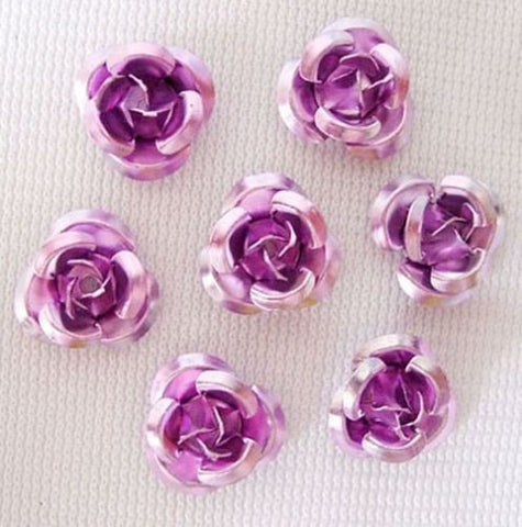 100pcs Mixed Color Aluminum Rose Metal Beads Tiny Flower Phone DIY Decorations