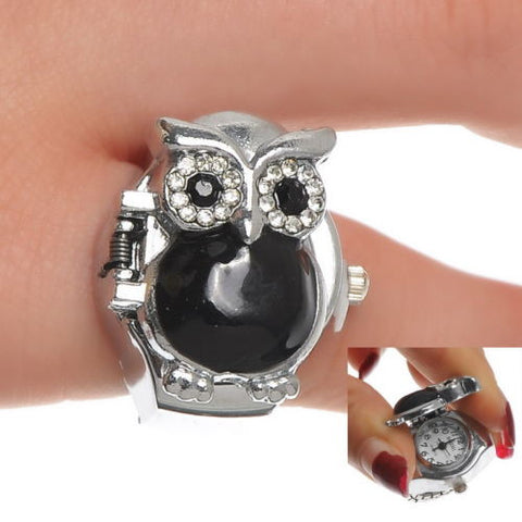 1PC Finger Ring Watch Quartz Owl Black Enamel Adjustable Band Size 7(17.5mm)