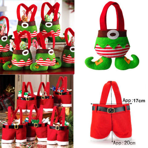 10Pcs XMAS Party Gift Santa Pants Elf Spirit Candy Gift Bag Sack Stocking Filler